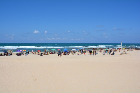 The busy beach on a beautiful day!