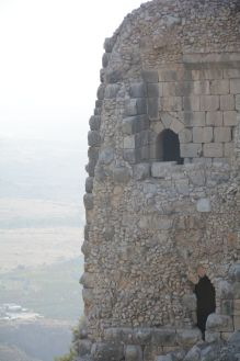 Part of the southwestern wall or tower with three types of building materials visible