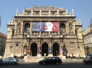 Hungarian Opera House, we wish they would stop hanging advertising all over the building